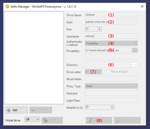 The winsshfs gui interface.